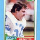1981 Topps Football #142 Ken Fantetti - Detroit Lions
