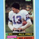 1981 Topps Football #110 Dave Jennings - New York Giants