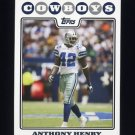 2008 Topps Football #251 Anthony Henry - Dallas Cowboys