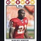 2008 Topps Football #093 Kolby Smith - Kansas City Chiefs