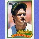 1989 Topps Baseball #605A Bob Welch Error - Oakland A's