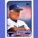 1989 Topps Baseball #254 Tom Lasorda MG / Los Angeles Dodgers Team Checklist