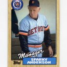 1987 Topps Baseball #218 Sparky Anderson MG / Detroit Tigers Team Checklist