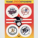 1991 Fleer Baseball Team Logo Stickers Twins / Yankees / A's / Mariners
