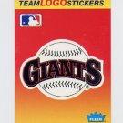 1991 Fleer Baseball Team Logo Stickers The San Francisco Giants Team Logo