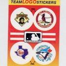 1991 Fleer Baseball Team Logo Stickers Pirates / Cardinals / Rangers / Blue Jays Team Logos
