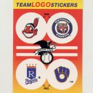 1991 Fleer Baseball Team Logo Stickers Indians / Tigers / Royals / Brewers Team Logos