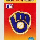 1991 Fleer Baseball Team Logo Stickers The Milwaukee Brewers Team Logo