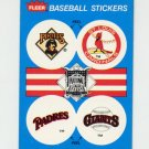 1989 Fleer Baseball Team Logo Stickers Pirates / Cardinals / Padres / Giants / Padres Team History