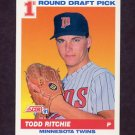1991 Score Baseball #678 Todd Ritchie RC - Minnesota Twins