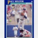 1991 Score Baseball #049 Paul Molitor - Milwaukee Brewers