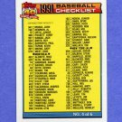 1991 Topps Baseball #527A Checklist 4 ERROR