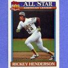 1991 Topps Baseball #391 Rickey Henderson AS - Oakland A's