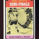 1974-75 Topps Hockey #214 Stanley Cup Semifinals / Bruins over Blackhawks