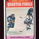 1974-75 Topps Hockey #212 Quarter Finals / Chicago Blackhawks over Los Angeles Kings