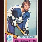 1974-75 Topps Hockey #088 Inge Hammarstrom RC - Toronto Maple Leafs