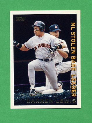 1995 Topps Baseball League Leaders #LL45 Darren Lewis - San Francisco Giants