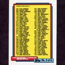 1992 Topps Baseball #366 Checklist No. 3 of 6