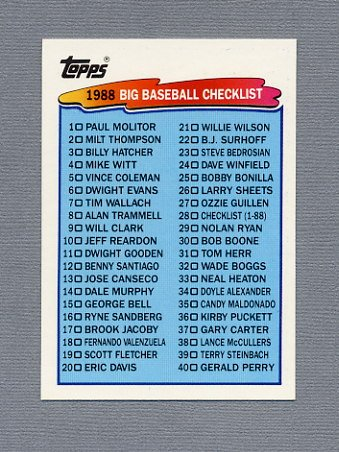 1988 Topps BIG Baseball #028 Checklist 1-88