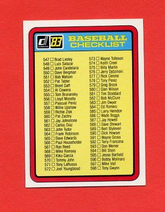 1983 Donruss Baseball #660 Checklist 547-653