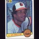 1983 Donruss Baseball #257 Ken Singleton - Baltimore Orioles
