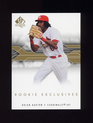 2008 SP Authentic Baseball Rookie Exclusives #BA Brian Barton - St. Louis Cardinals