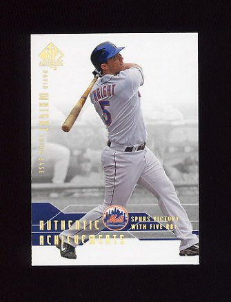 2008 SP Authentic Baseball Authentic Achievements #AA25 David Wright - New York Mets