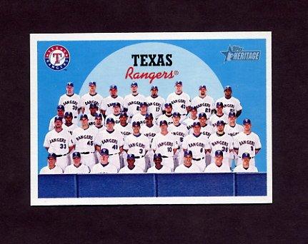 2008 Topps Heritage Baseball #665 Texas Rangers / Checklist Card