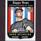 2008 Topps Heritage Baseball #605 Greg Reynolds RC - Colorado Rockies