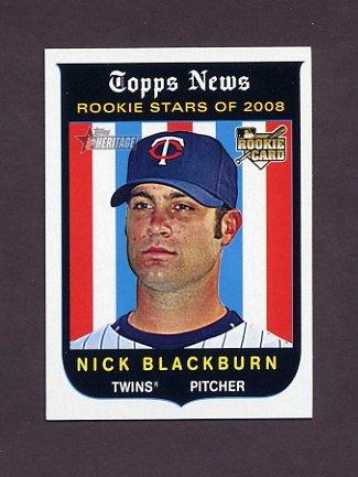 2008 Topps Heritage Baseball #593 Nick Blackburn RC - Minnesota Twins