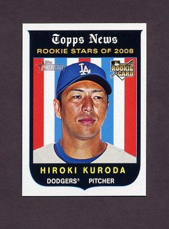 2008 Topps Heritage Baseball #524 Hiroki Kuroda RC - Los Angeles Dodgers