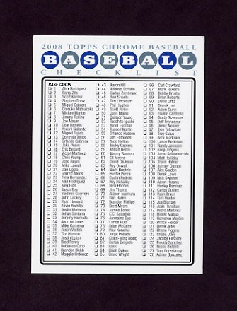 2008 Topps Chrome Baseball #NNO Checklist 1 of 2