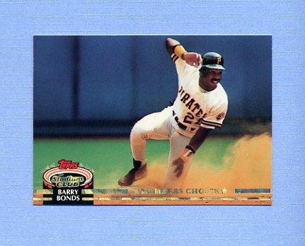 1992 Stadium Club Baseball #604 Barry Bonds MC - Pittsburgh Pirates NM-M