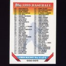 1993 Topps Baseball #825 Checklist 692-825