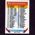 1993 Topps Baseball #823 Checklist 397-540