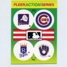 1990 Fleer Baseball Action Series Team Logo Stickers Braves / Cubs / Royals / Brewers Team Logos