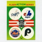 1990 Fleer Baseball Action Series Team Logo Stickers Dodgers/ Expos/ Mets/ Phillies Team Logos
