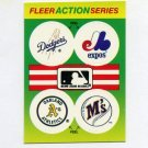 1990 Fleer Baseball Action Series Team Logo Stickers Dodgers/ Expos/ A's/ Mariners Team Logos