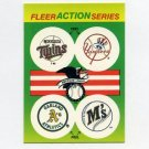 1990 Fleer Baseball Action Series Team Logo Stickers Twins/ Yankees/ A's/ Mariners Team Logos