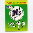 1990 Fleer Baseball Action Series Team Logo Stickers Seattle Mariners Team Logo