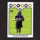 2008 Topps Football #360 Allen Patrick RC - Baltimore Ravens