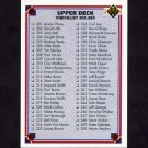 1991 Upper Deck Football #400 Checklist 301-400
