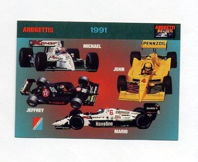 1992 Collect-A-Card Andretti Racing #75 Mario Andretti/Michael Andretti/Jeff Andretti/John Andretti