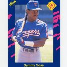 1990 Classic Blue Baseball #140 Sammy Sosa - Texas Rangers Ex
