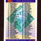 1994 Topps Baseball #395 Checklist 001-198