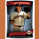 2010 Topps Baseball Peak Performance #002 Tim Lincecum - San Francisco Giants