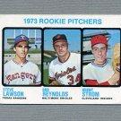 1973 Topps Baseball #612 Rookie Pitchers / Steve Lawson RC / Bob Reynolds / Brent Strom RC