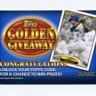 2012 Topps Golden Giveaway Code Cards #GGC01 Ryan Braun - Milwaukee Brewers