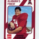 1989 Alabama Coke 580 Football #138 David Hannah - Alabama Crimson Tide