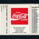 1989 Alabama Coke 580 Football #NNO Checklist #6